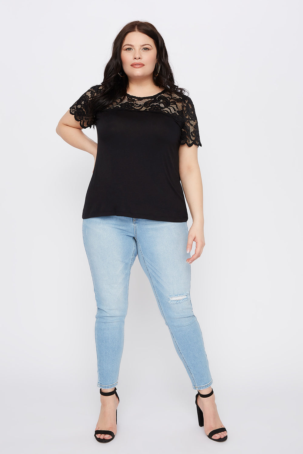 Plus Size Lace Sleeve Scallop T-Shirt Black