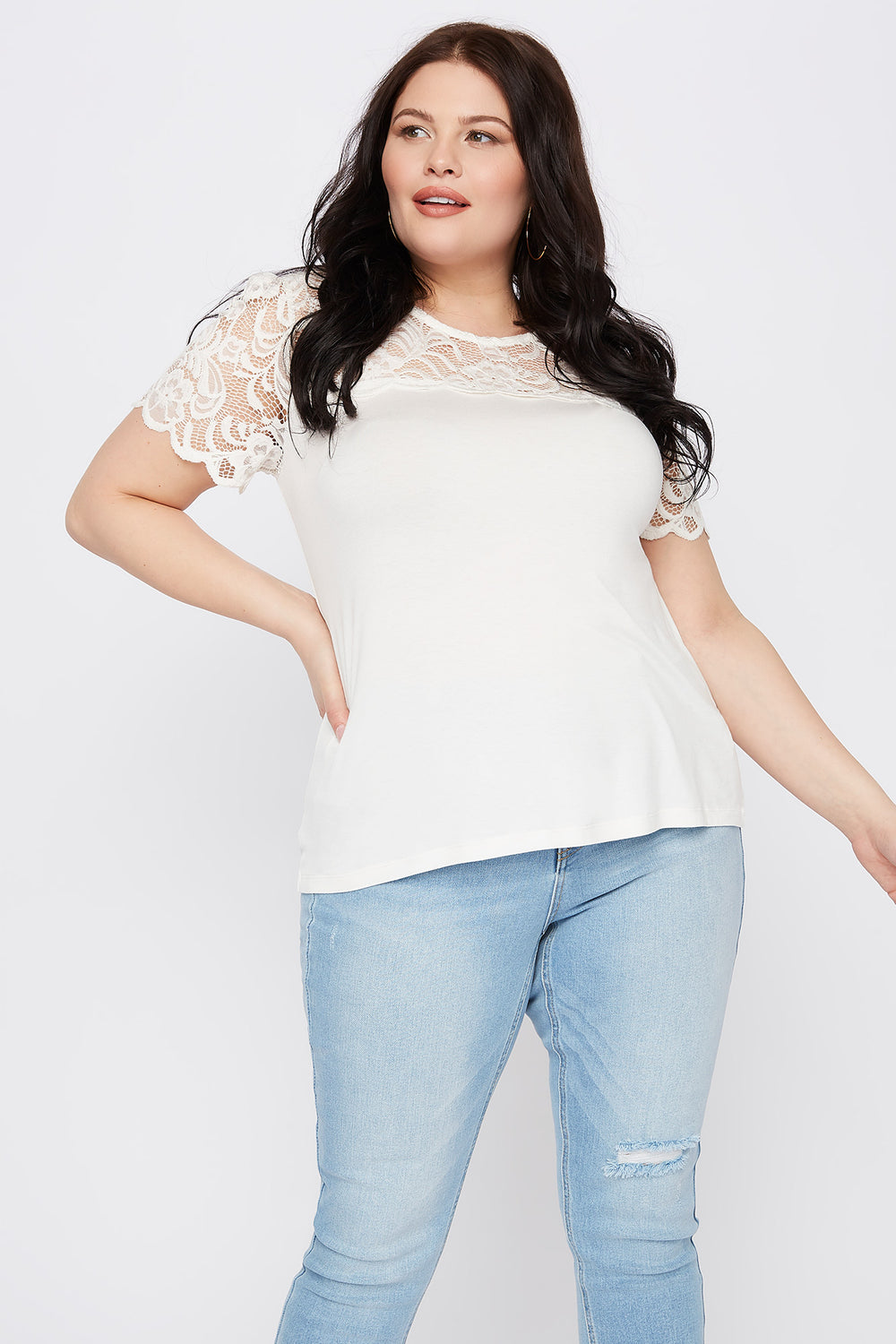 Plus Size Lace Sleeve Scallop T-Shirt Off White