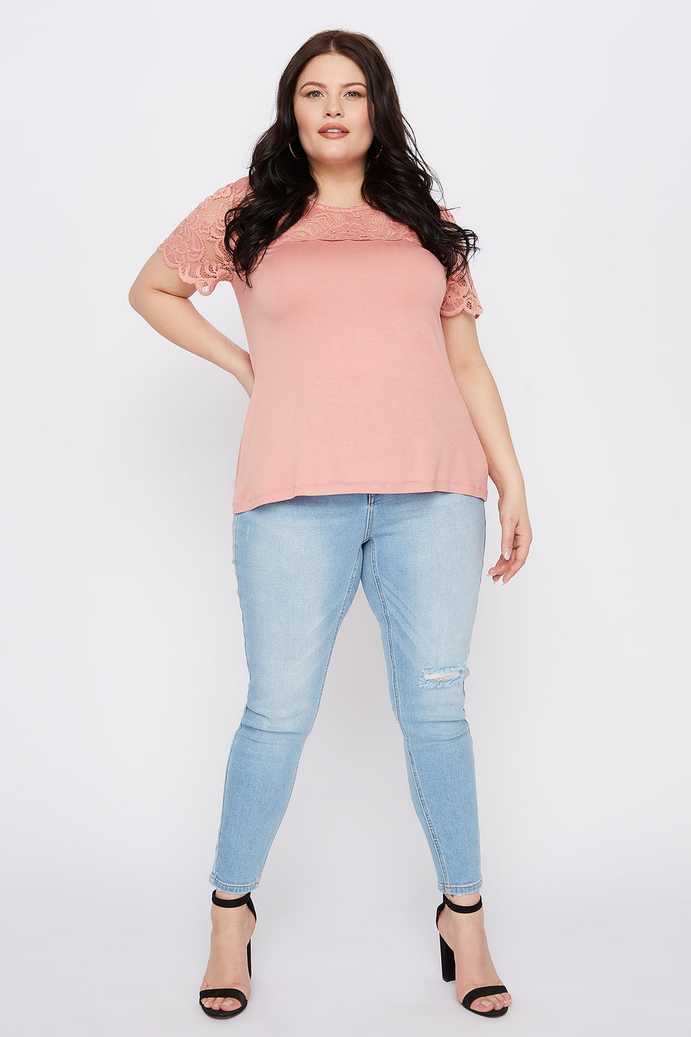 Plus Size Lace Sleeve Scallop T-Shirt Mauve