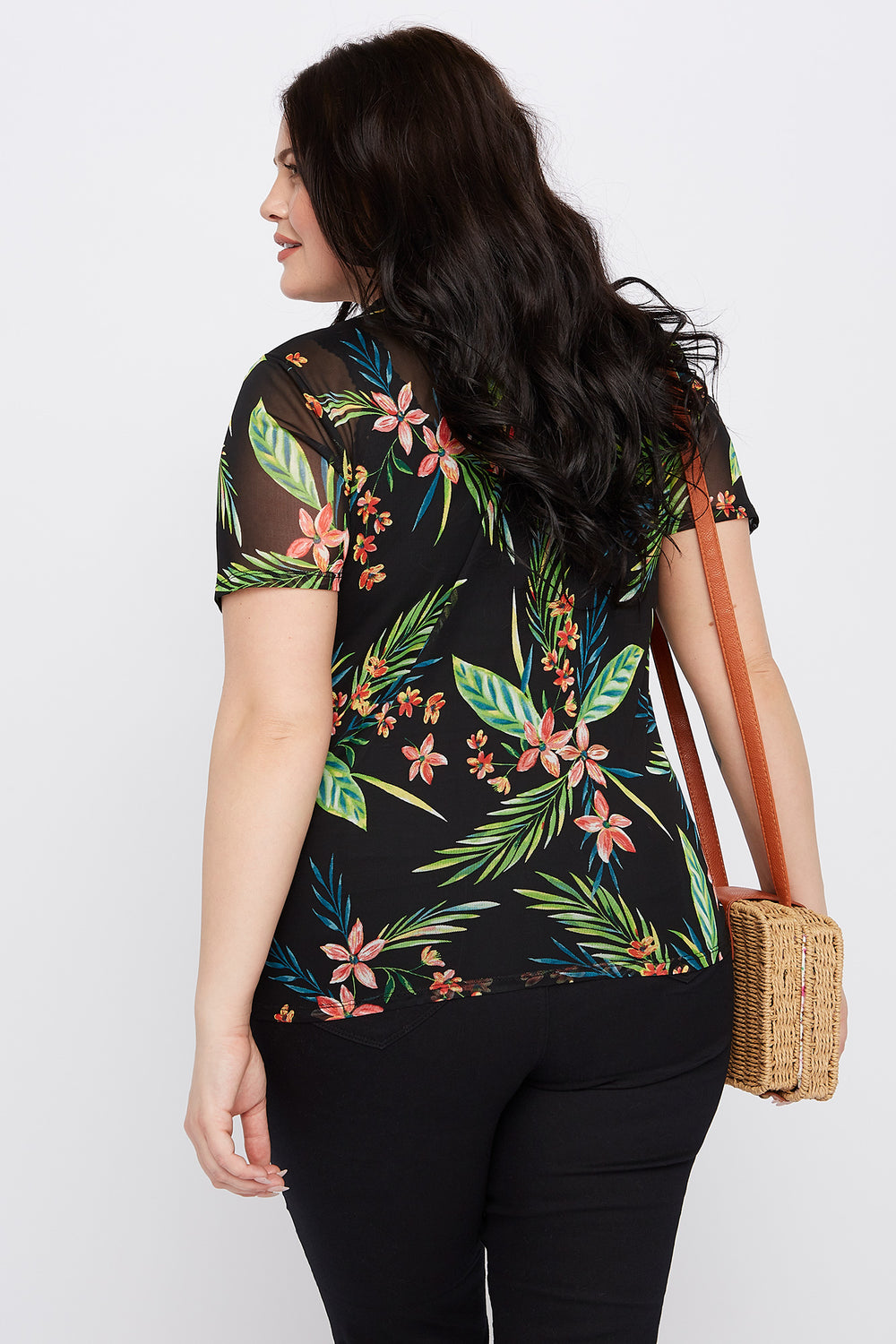 Plus Size Tropical Mesh T-Shirt Black