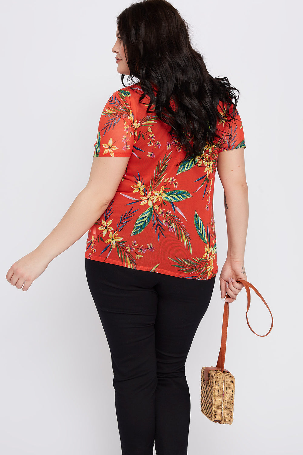 Plus Size Tropical Mesh T-Shirt Orange