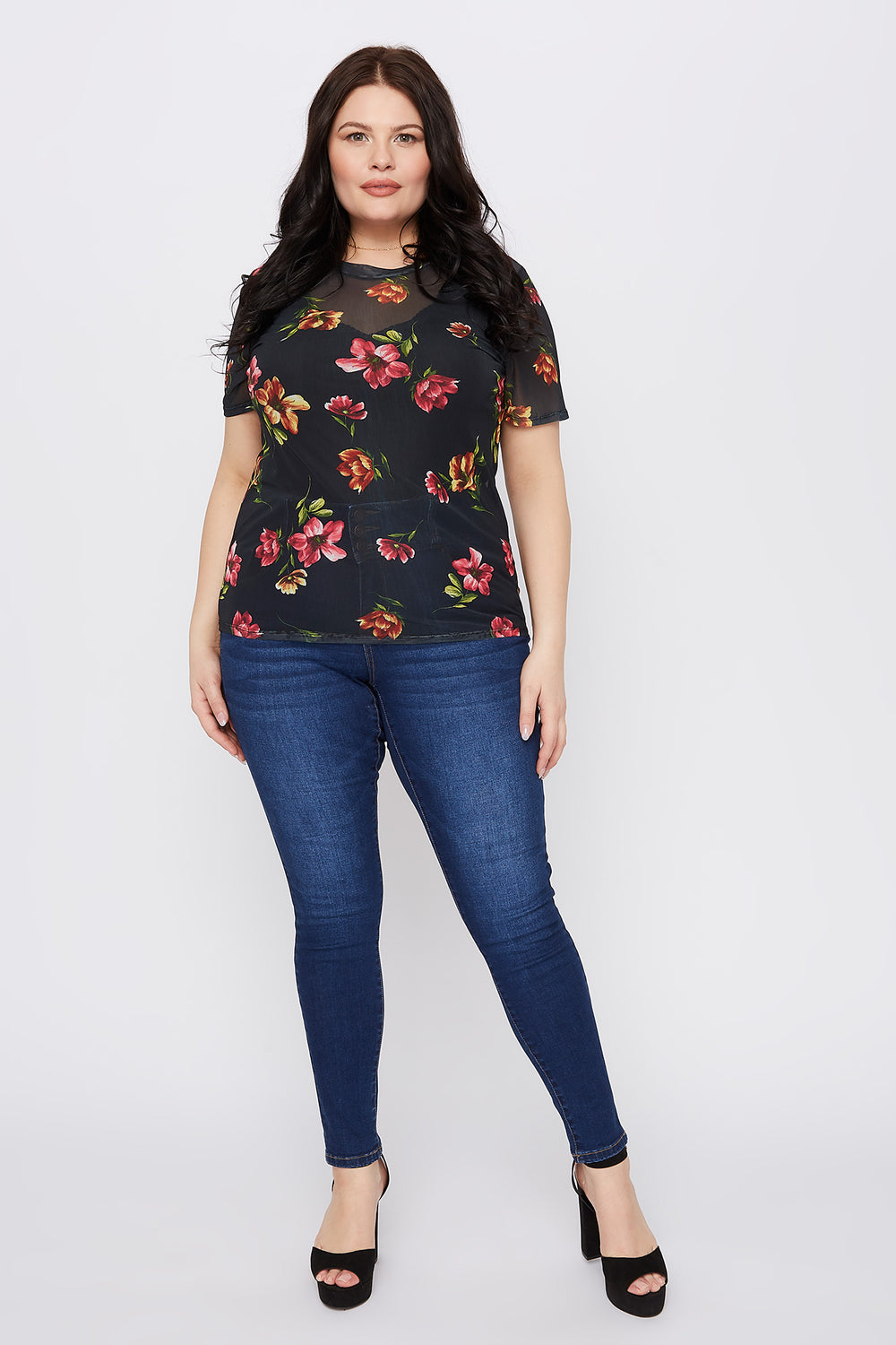 Plus Size Floral Mesh Short Sleeve Top Black