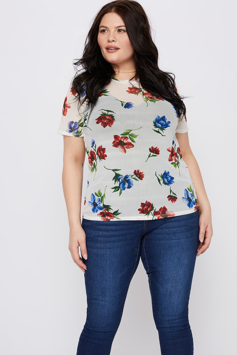 Plus Size Floral Mesh Short Sleeve Top Off White