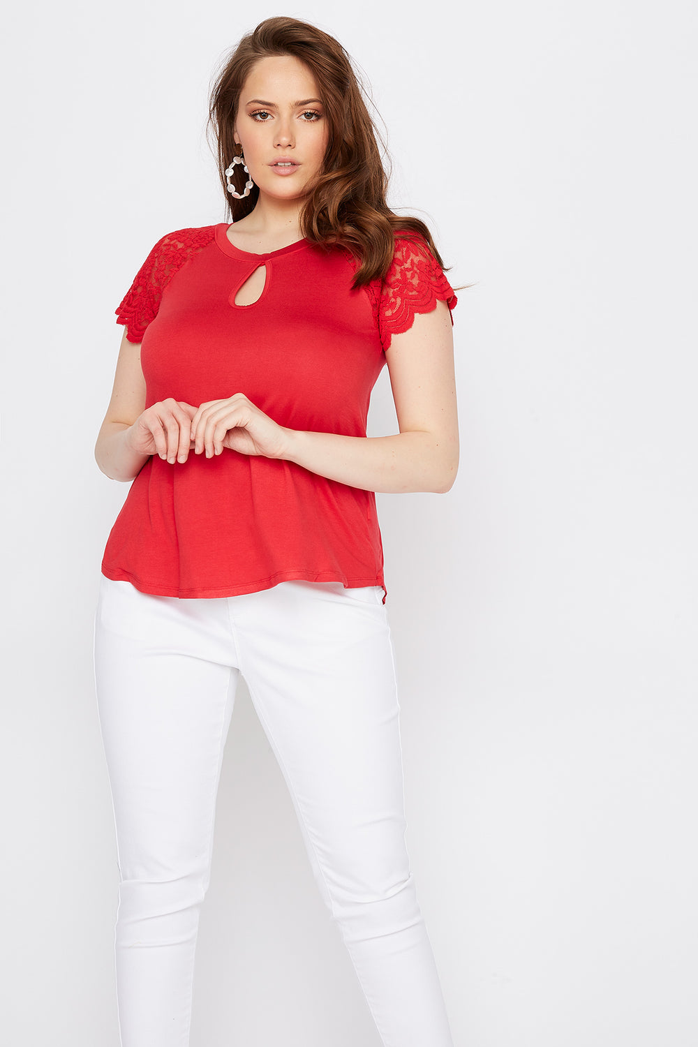 Plus Size Lace Sleeve Keyhole T-Shirt Bright Red