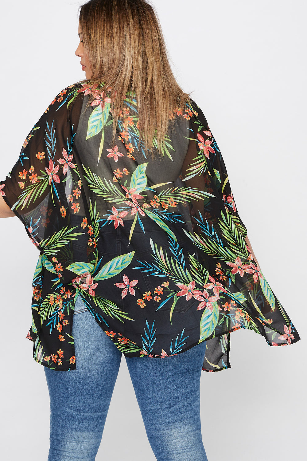 Plus Size Tropical Printed Kimono Black