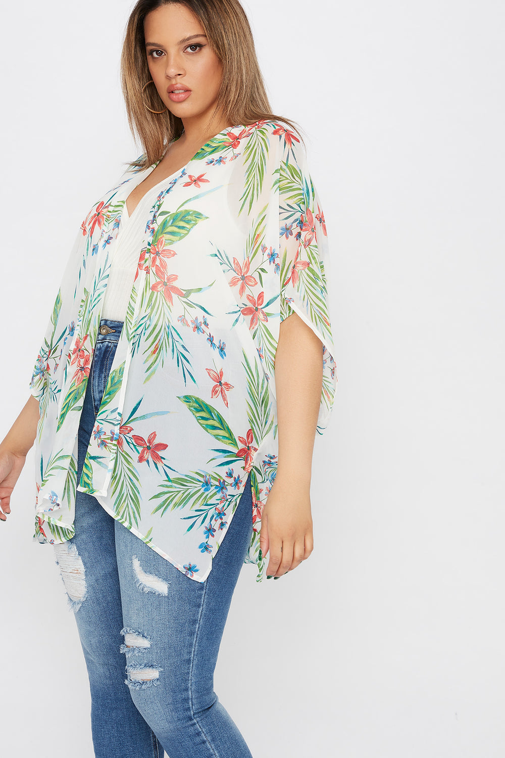 Plus Size Tropical Printed Kimono Off White