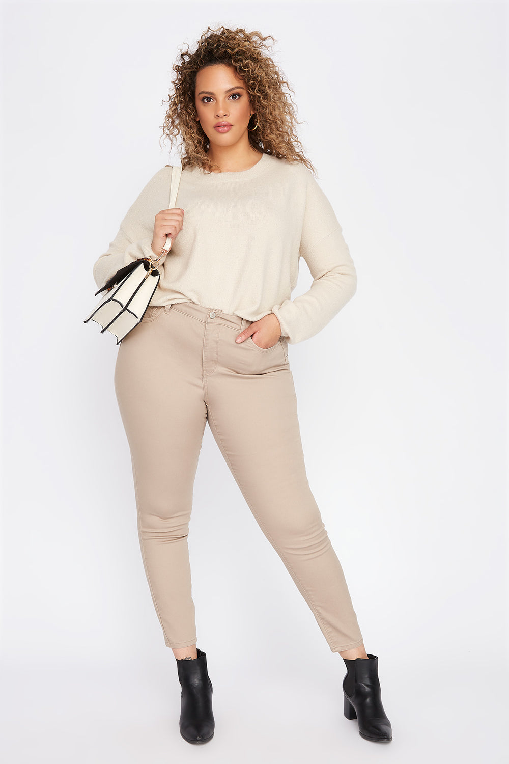 Plus Size Butt, I Love You High-Rise Twill Push-Up Skinny Jean Khaki