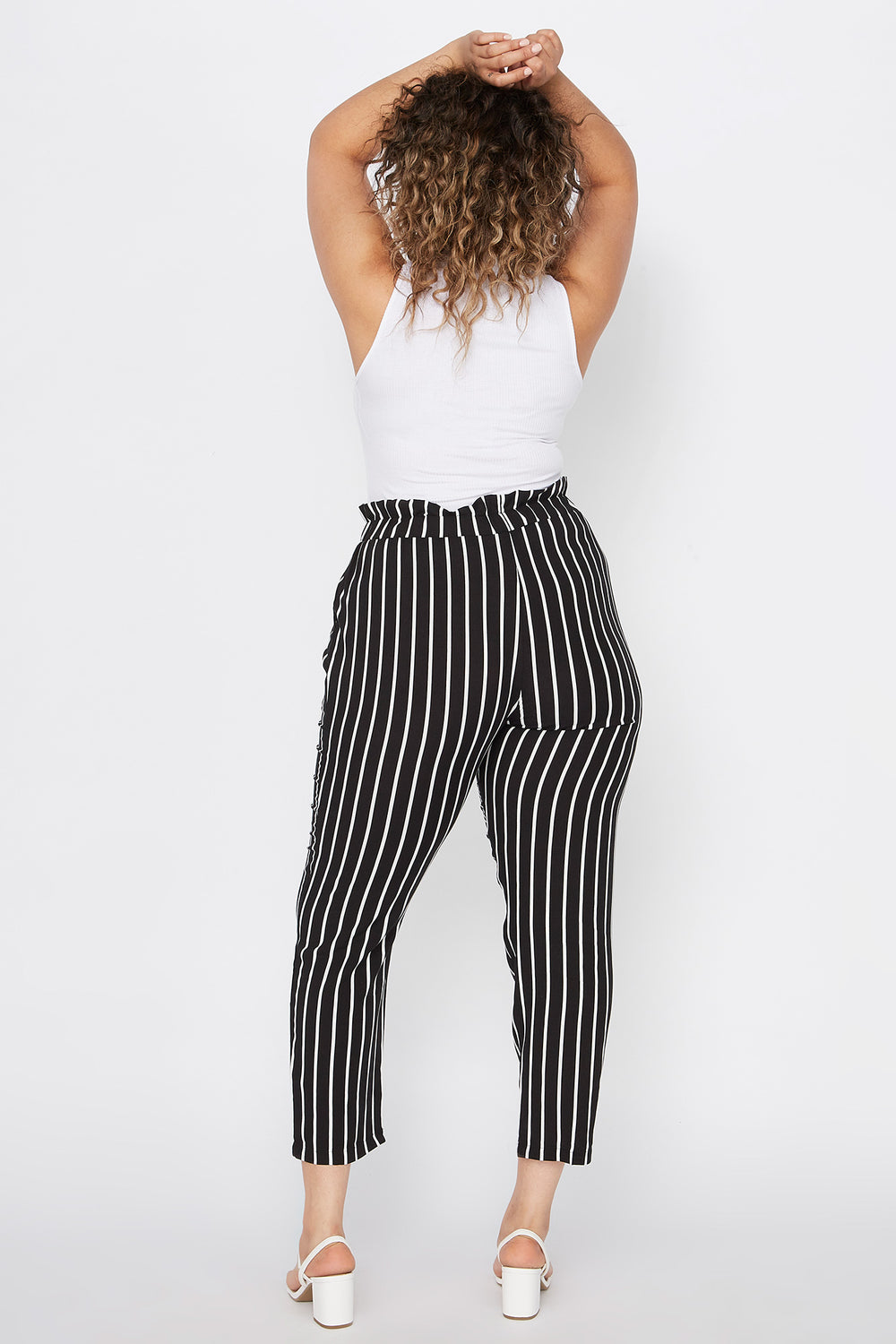 Plus Size Striped Paperbag Self Tie Cropped Pant Black
