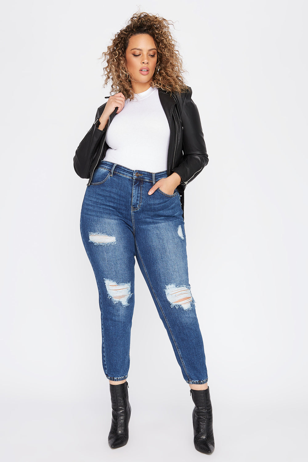 Plus Size High-Rise Distressed Denim Jogger Navy Blue