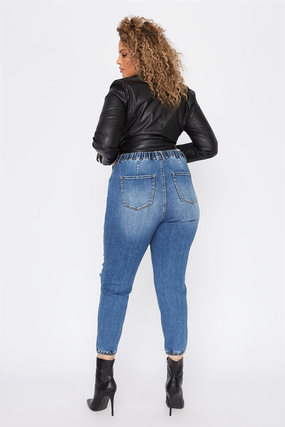 Plus Size High-Rise Distressed Denim Jogger Medium Denim Blue