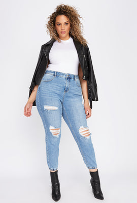 Plus Size High-Rise Distressed Denim Jogger