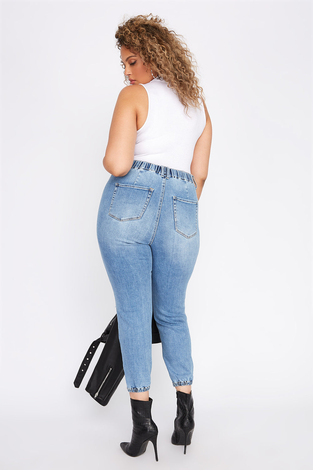 Plus Size High-Rise Distressed Denim Jogger Sky Blue