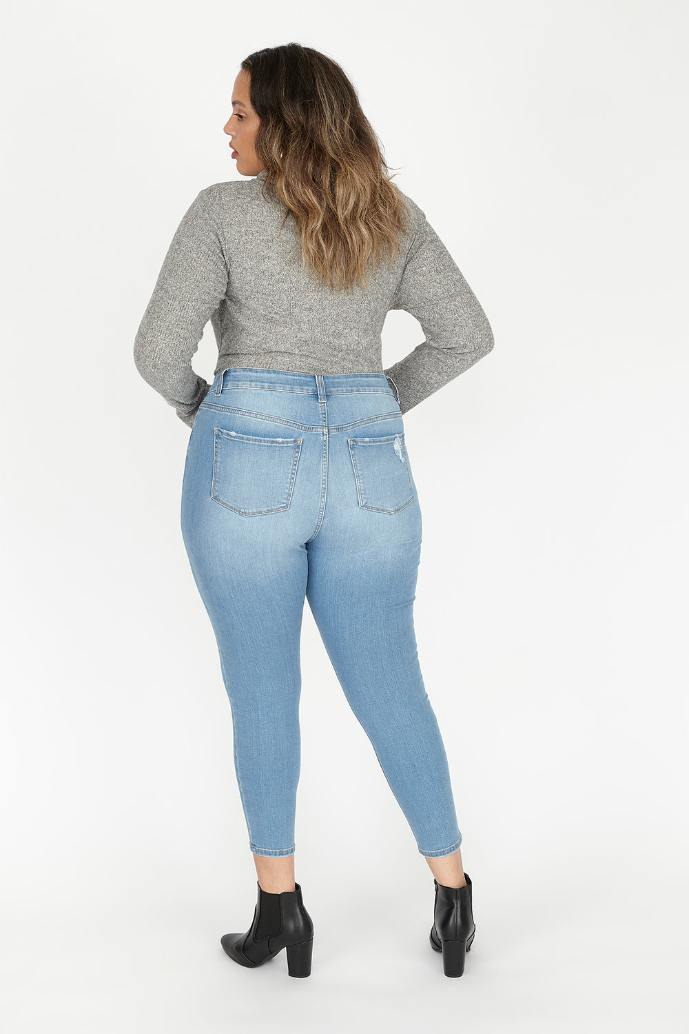 Plus Size High-Rise Distressed Patched Skinny Jean Light Blue