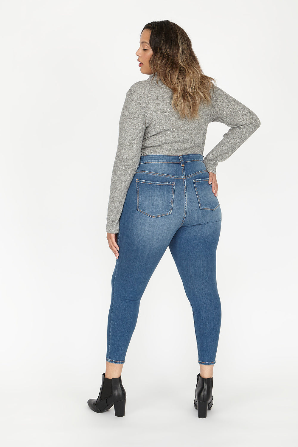 Plus Size High-Rise Distressed Patched Skinny Jean Medium Blue