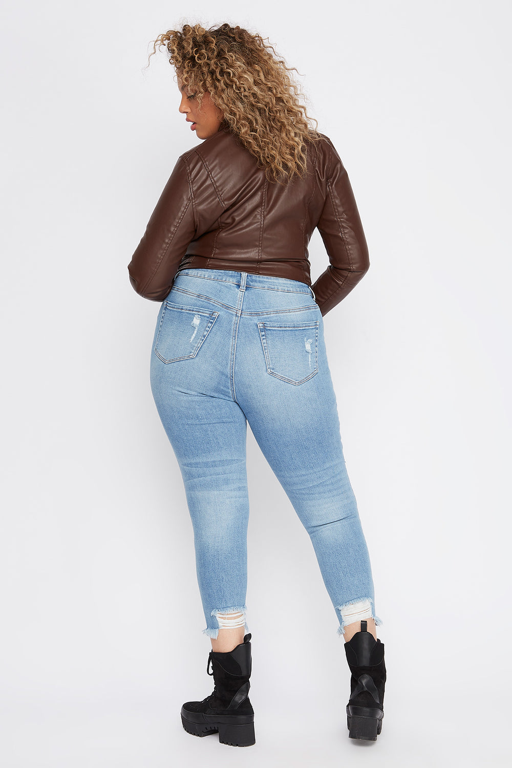 Plus Size Distressed Raw Hem Skinny Jean Light Denim Blue
