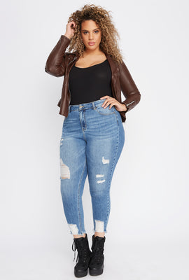 Plus Size Distressed Raw Hem Skinny Jean