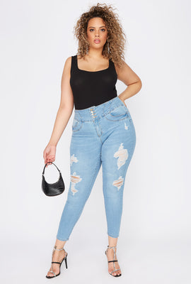 Plus Size Butt, I Love You 4-Tier High-Rise Distressed Push-Up Skinny Jean