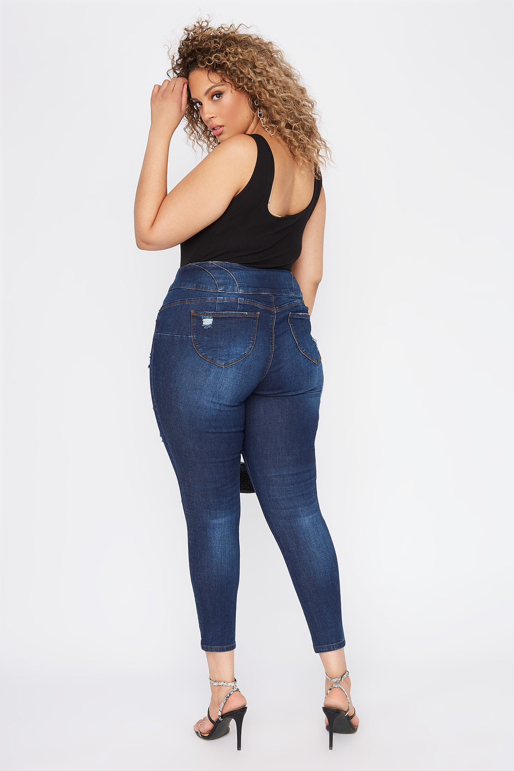 Plus Size Butt, I Love You 4-Tier High-Rise Distressed Push-Up Skinny Jean Medium Blue