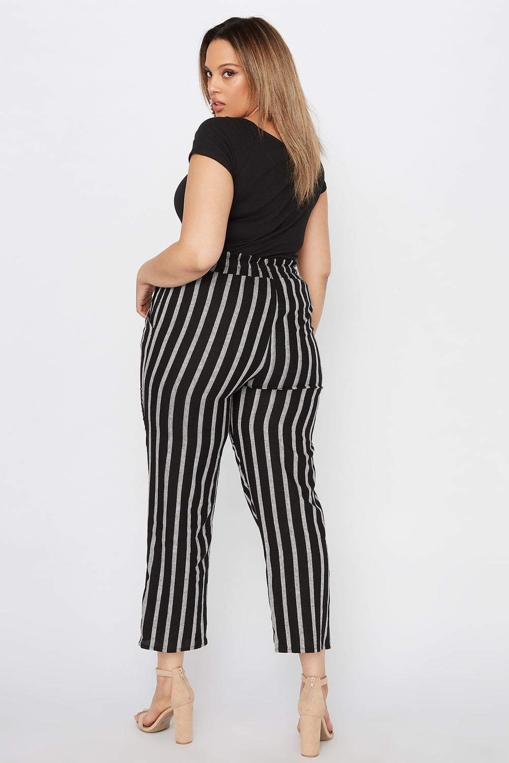 Plus Size Cropped Striped Self Tie Paperbag Linen Pant Black