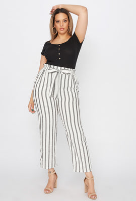 Plus Size Cropped Striped Self Tie Paperbag Linen Pant