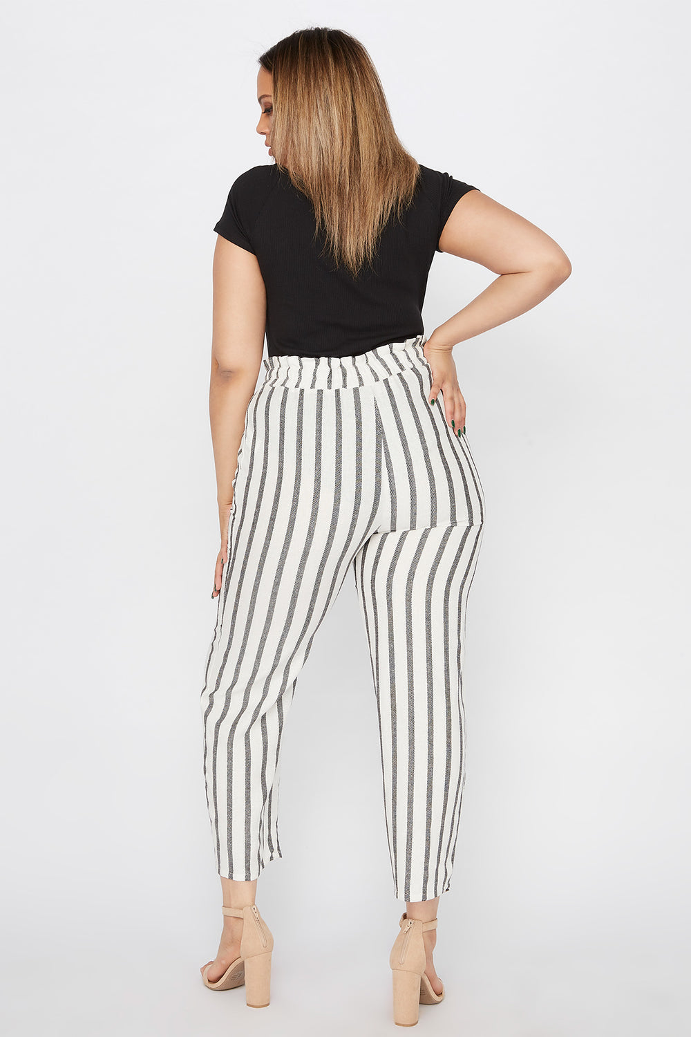 Plus Size Cropped Striped Self Tie Paperbag Linen Pant Off White