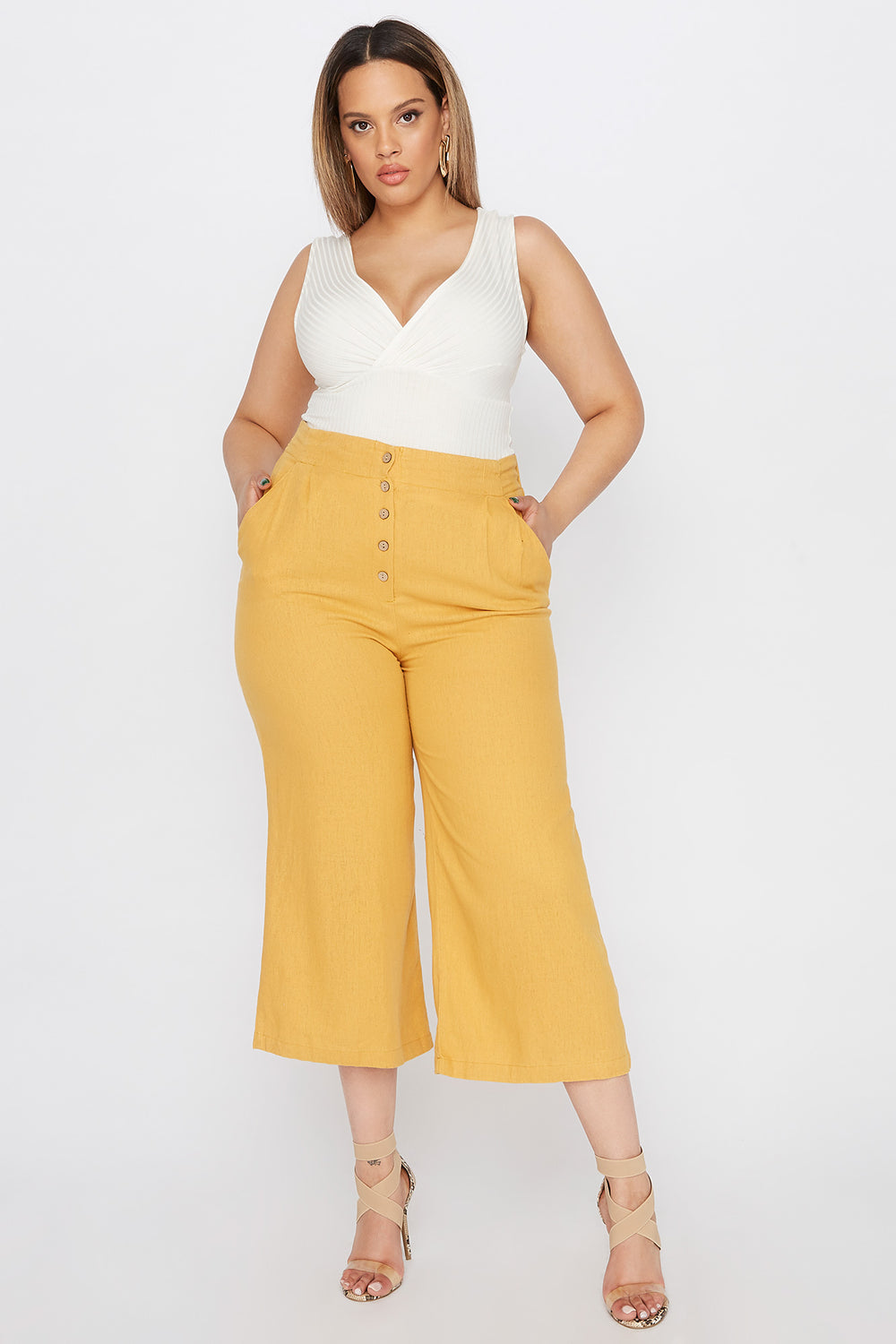Plus Size Button-Up Linen Culotte Pant Mustard