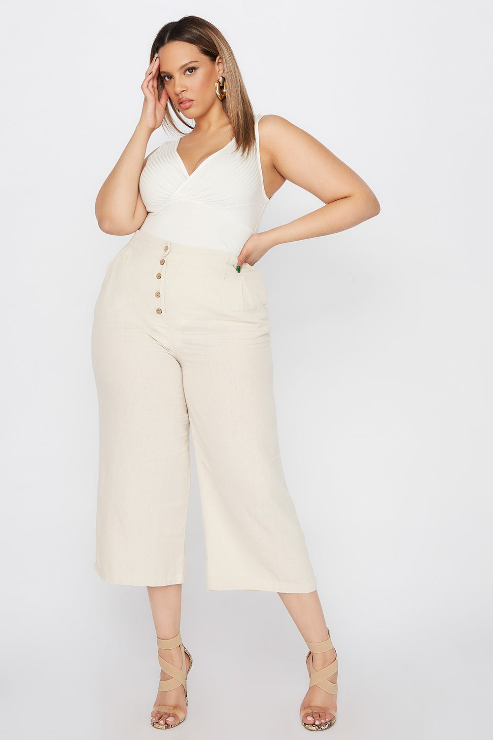 Plus Size Button-Up Linen Culotte Pant Khaki