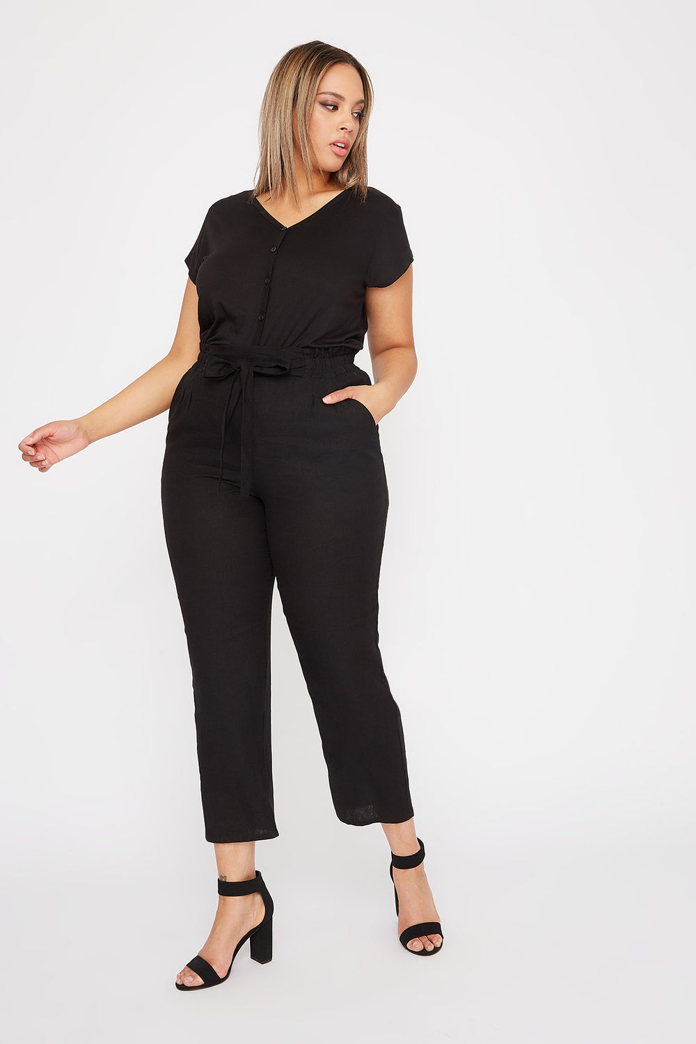 Plus Size Linen High-Rise Tie Pant Black