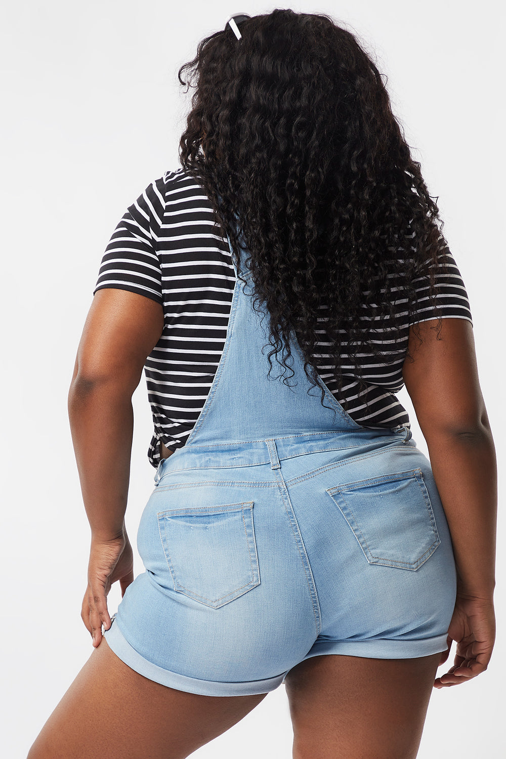 Plus Size Distressed  Rolled Cuff Denim Shortall Light Blue
