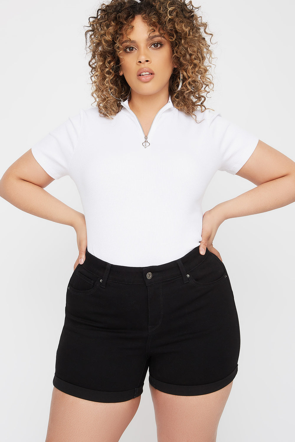 Plus Size Butt, I Love You High-Rise Push-Up Cuffed Short Black