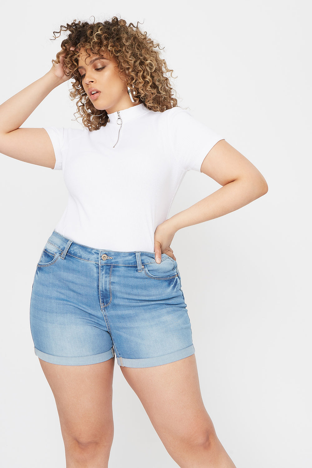 Plus Size Butt, I Love You High-Rise Push-Up Cuffed Short Sky Blue