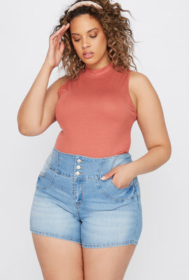 Plus Size Butt, I Love You 3-Tier High-Rise Push-Up Denim Short