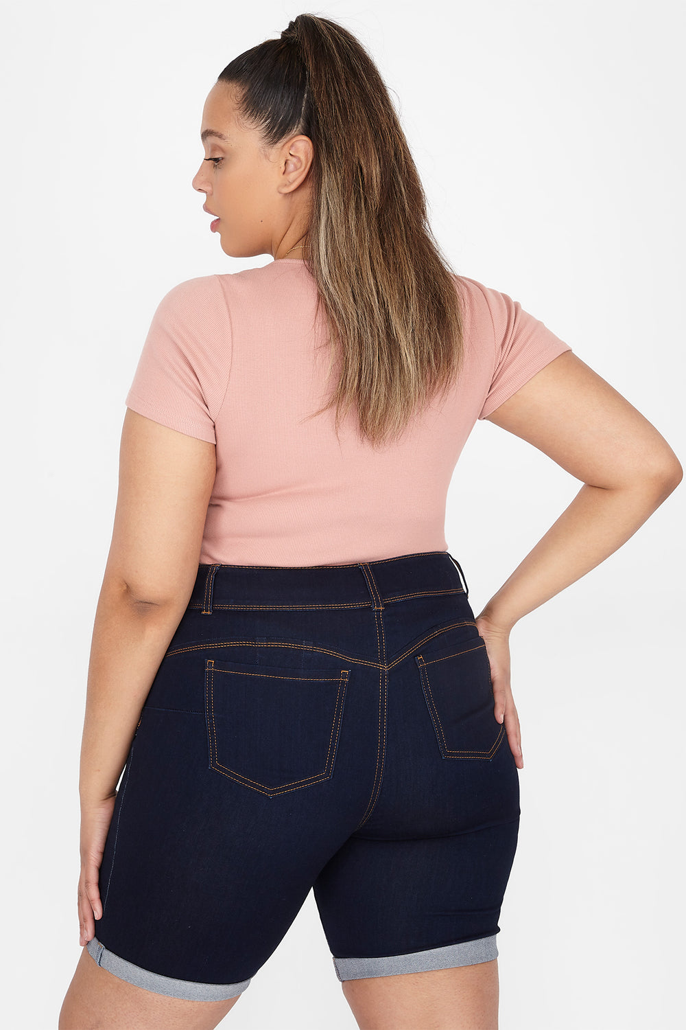 Plus Size Butt, I Love You 2-Tier High-Rise Rolled Cuff Bermuda Short Dark Blue