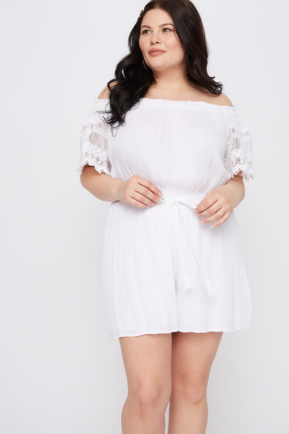 Plus Size Off The Shoulder Crochet Sleeve Romper White
