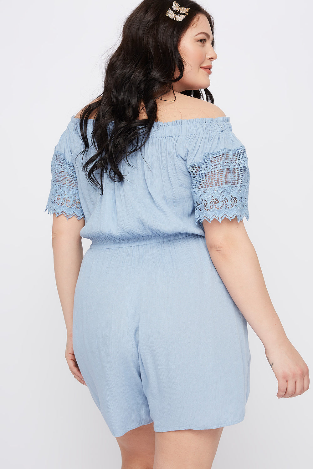 Plus Size Off The Shoulder Crochet Sleeve Romper Light Blue