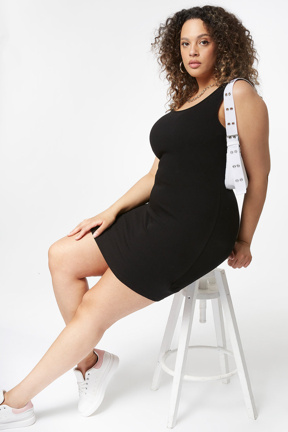 Plus Size Ribbed Tank Mini Dress Black