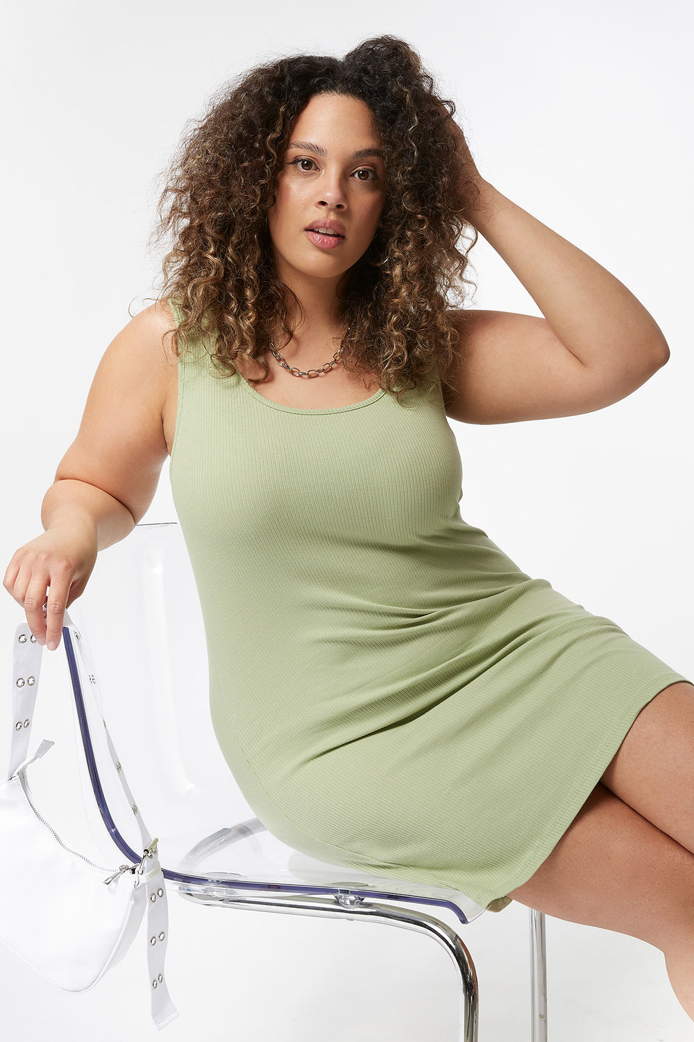 Plus Size Ribbed Tank Mini Dress Sage