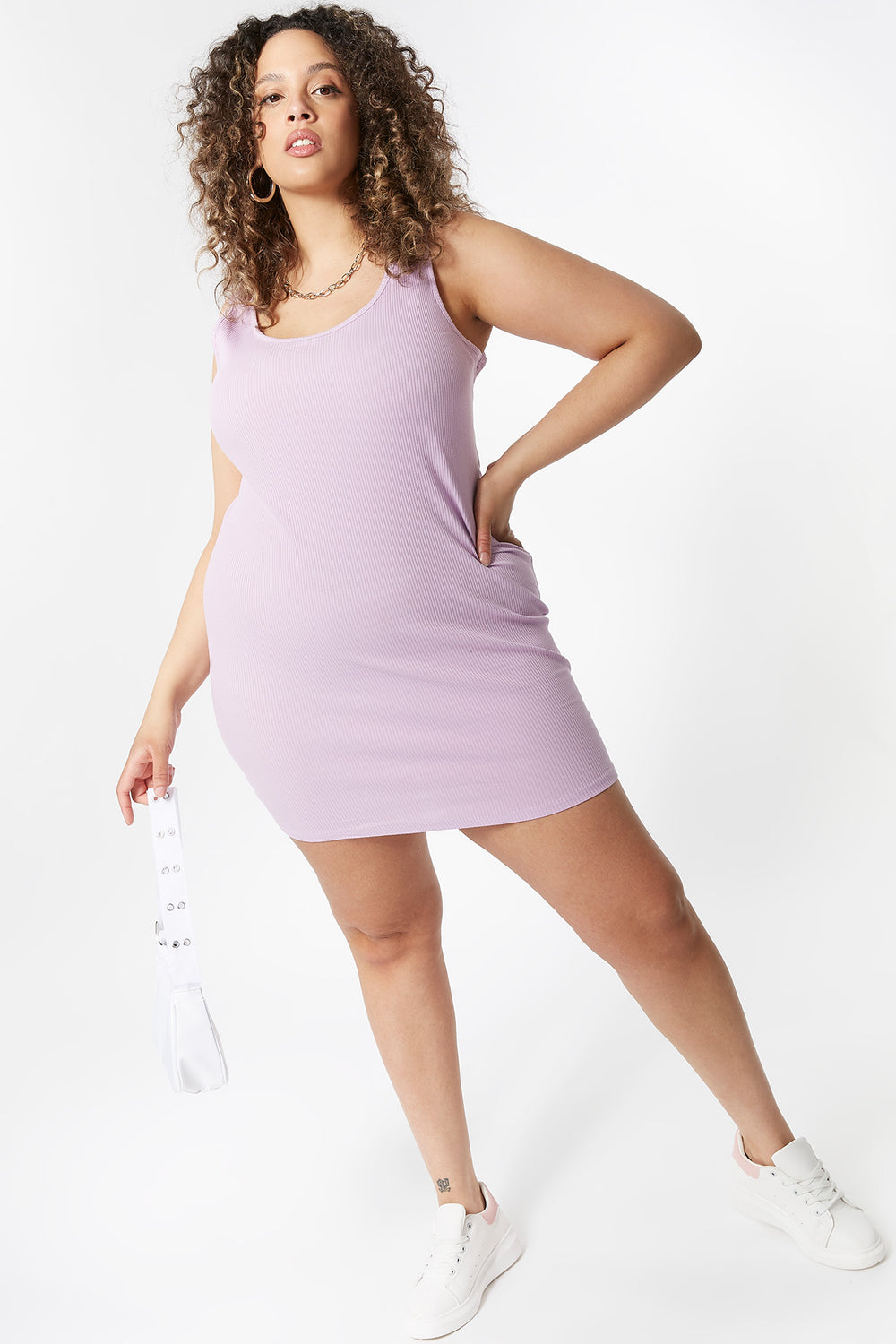 Plus Size Ribbed Tank Mini Dress Lilac