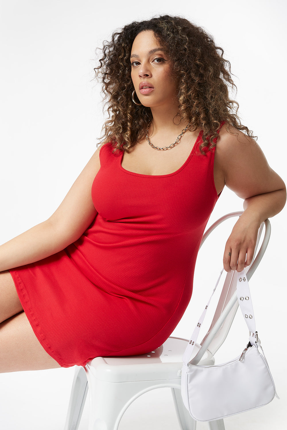 Plus Size Ribbed Tank Mini Dress Red