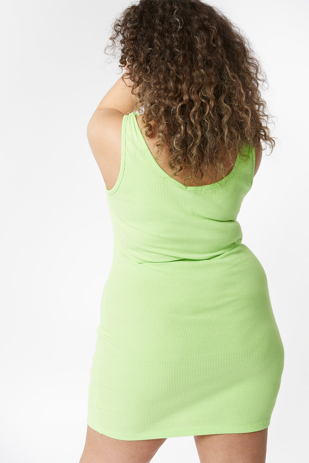 Plus Size Ribbed Tank Mini Dress Neon Green