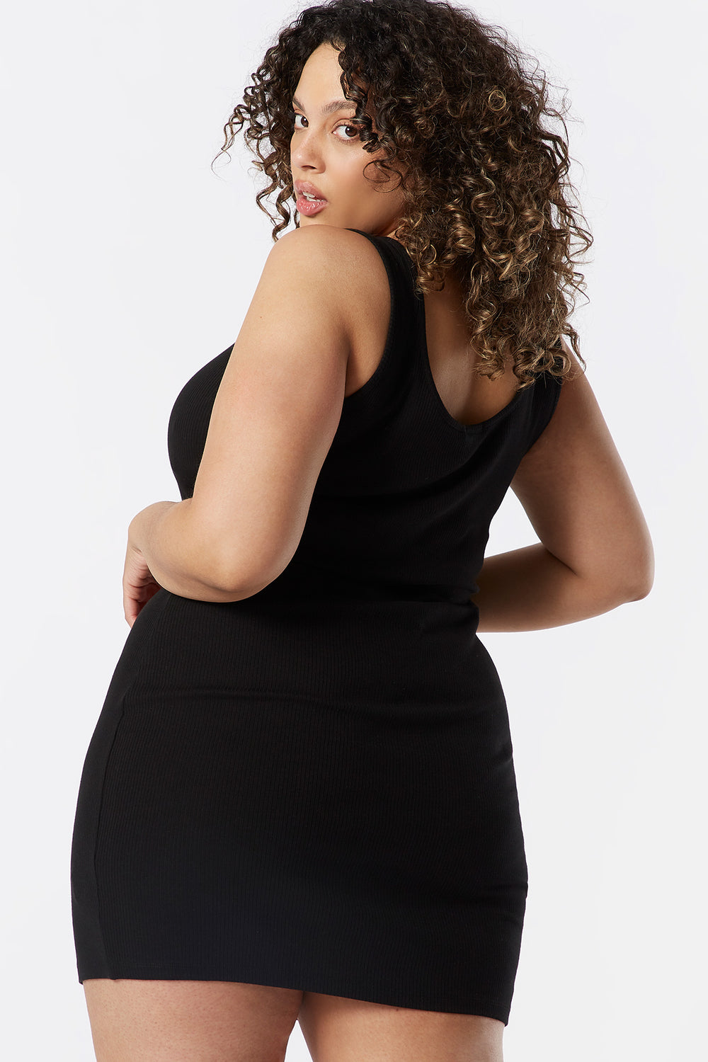 Plus Size Ribbed Henley Tank Bodycon Dress Black