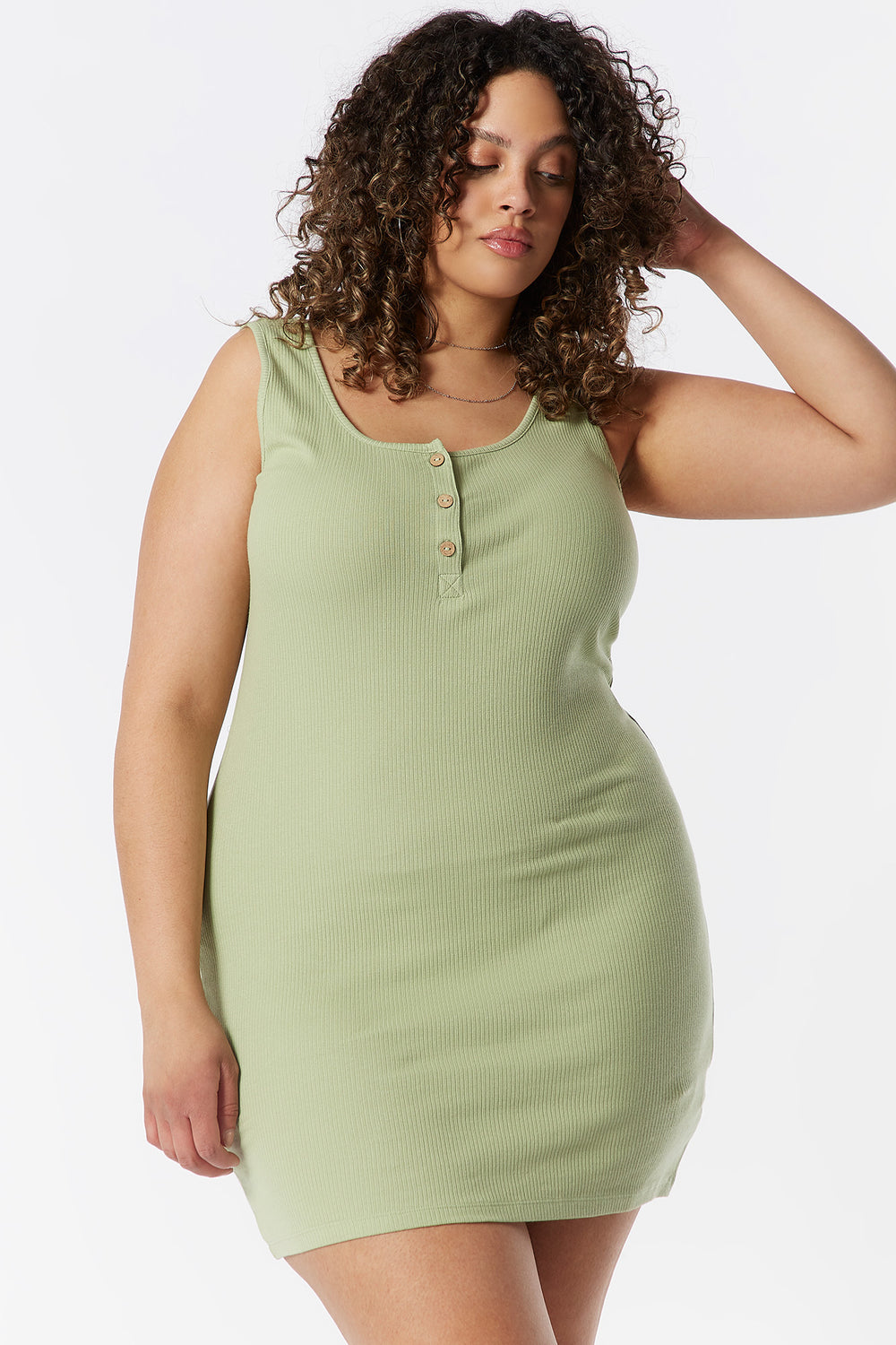 Plus Size Ribbed Henley Tank Bodycon Dress Sage