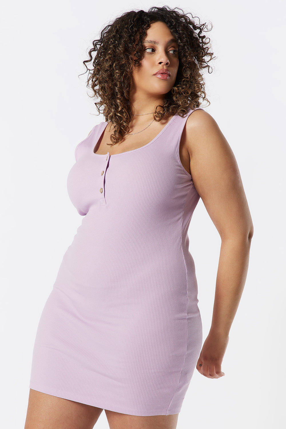 Plus Size Ribbed Henley Tank Bodycon Dress Lilac