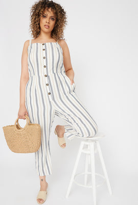 Plus Size Striped Button-Up Culotte Jumpsuit