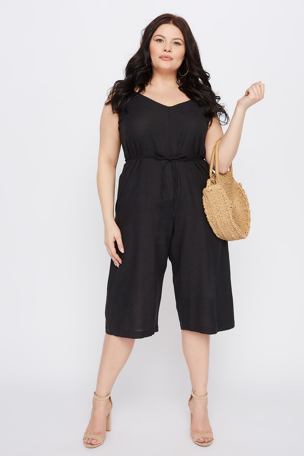 Plus Size V-Neck Culotte Jumpsuit Black