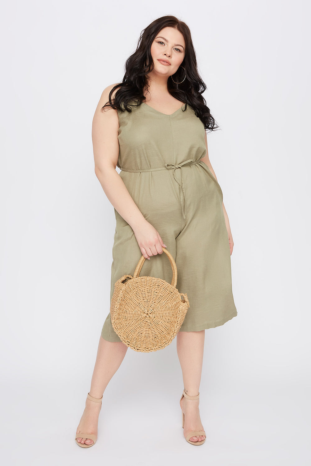 Plus Size V-Neck Culotte Jumpsuit Dark Green