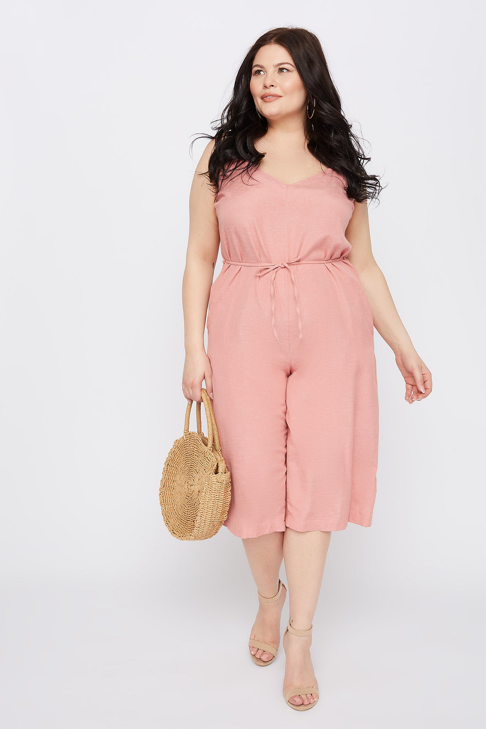 Plus Size V-Neck Culotte Jumpsuit Rose