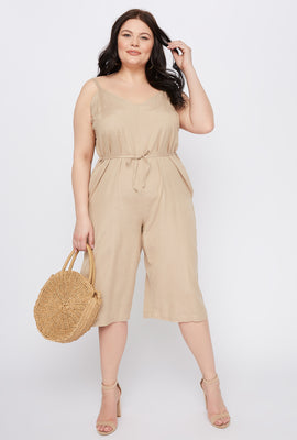 Plus Size V-Neck Culotte Jumpsuit