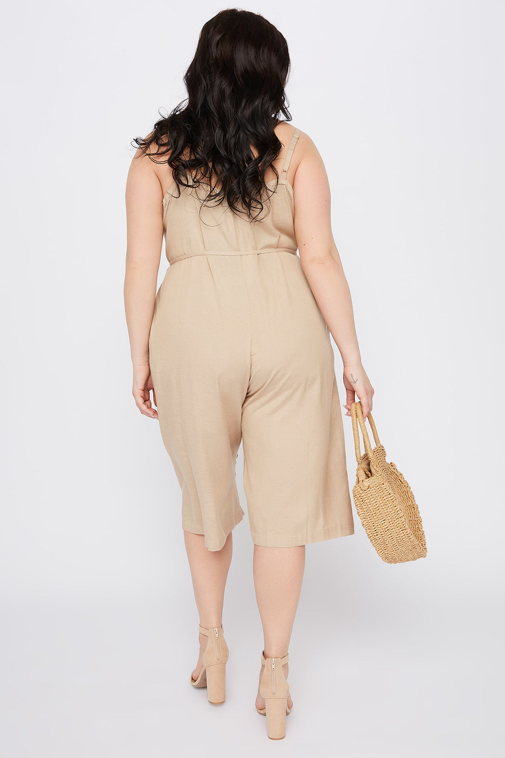 Plus Size V-Neck Culotte Jumpsuit Taupe
