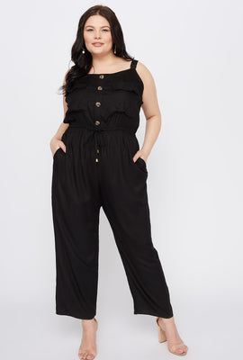 Plus Size Sleeveless Button Jumpsuit